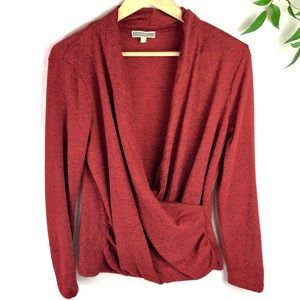 Pleione Red Long Sleeve Plunging Faux Wrap Top